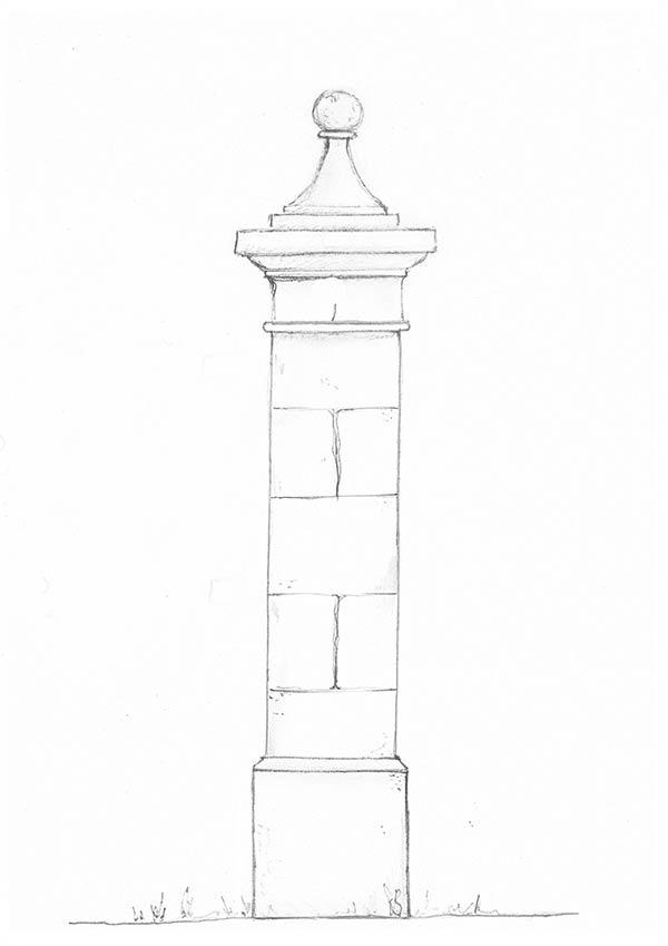 Chapiteau de pilier avec boule