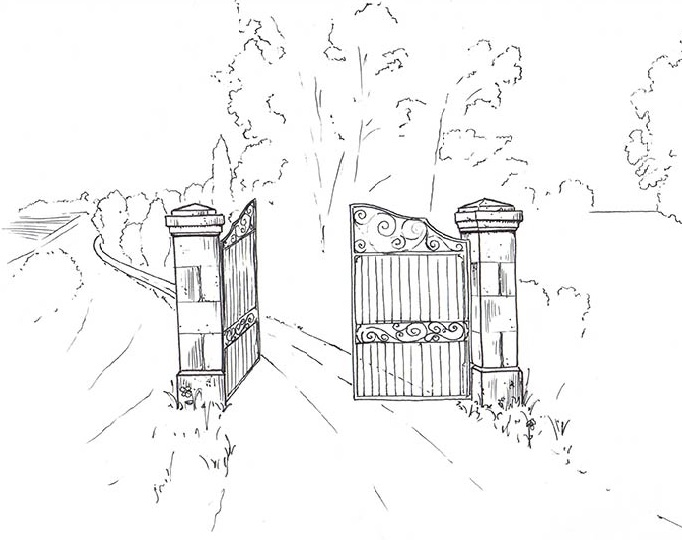 piliers portail en pierre avec chapiteaux taillés en pointe de diamant et portail en ferronnerie